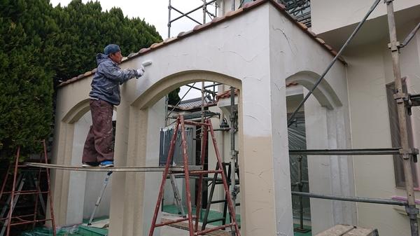 甲州市勝沼住宅の外壁塗装とガーデンテラス取付